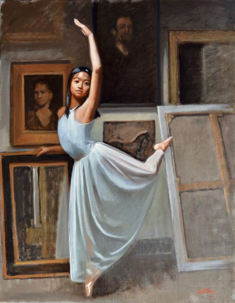hazel morgan's portrait of nampet - ballet posture arabesque in a white dress